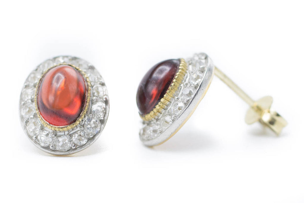 Garnet & Diamond Gold Studs-Earrings-The Antique Ring Shop, Amsterdam