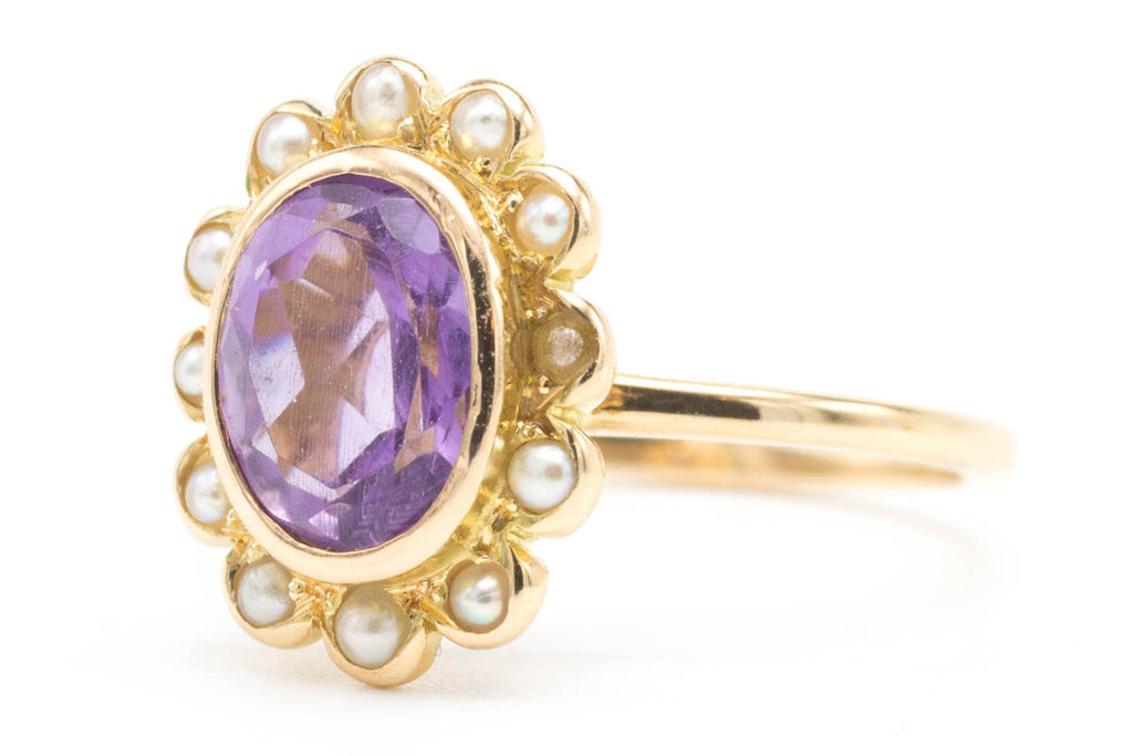 Amethyst & Pearl Halo Gold Ring-Vintage & retro rings-The Antique Ring Shop, Amsterdam
