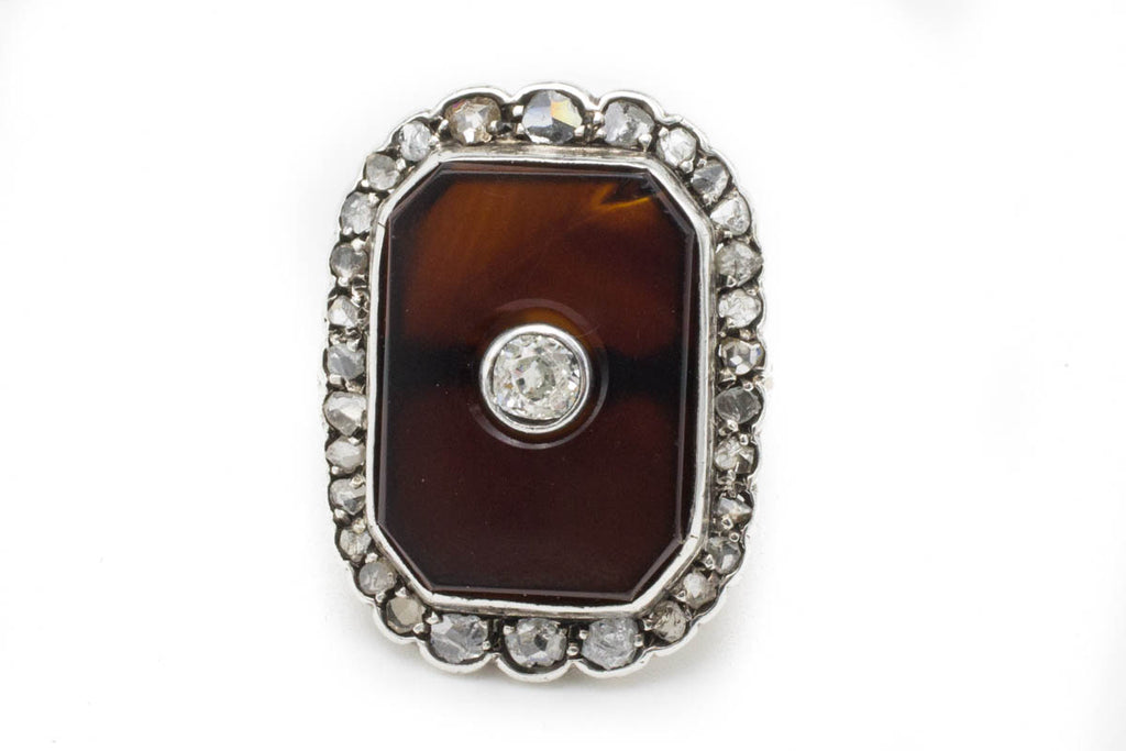 Antique Sardonyx & Diamond Gold Ring