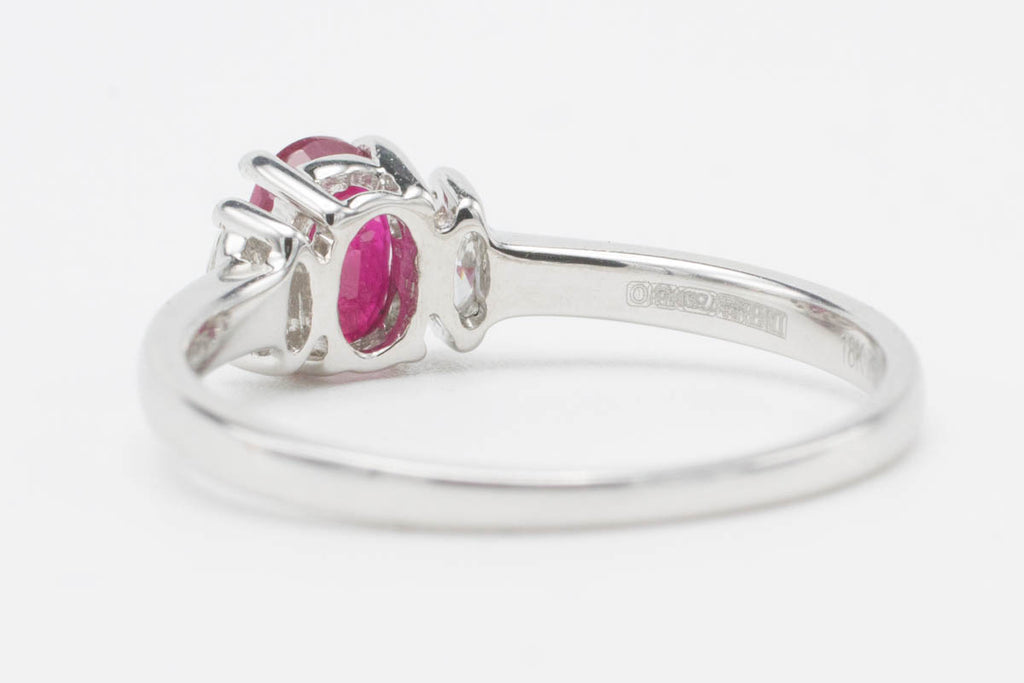 Pink Sapphire & Diamond White Gold Ring-Vintage & retro rings-The Antique Ring Shop, Amsterdam