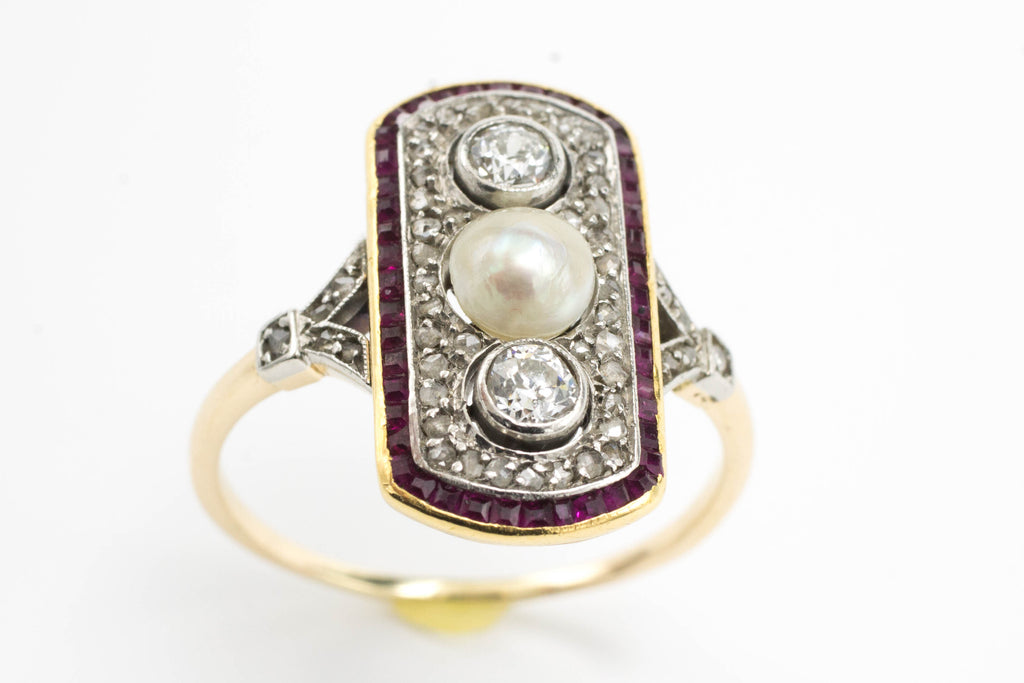 Art Deco ruby, diamond and pearl ring