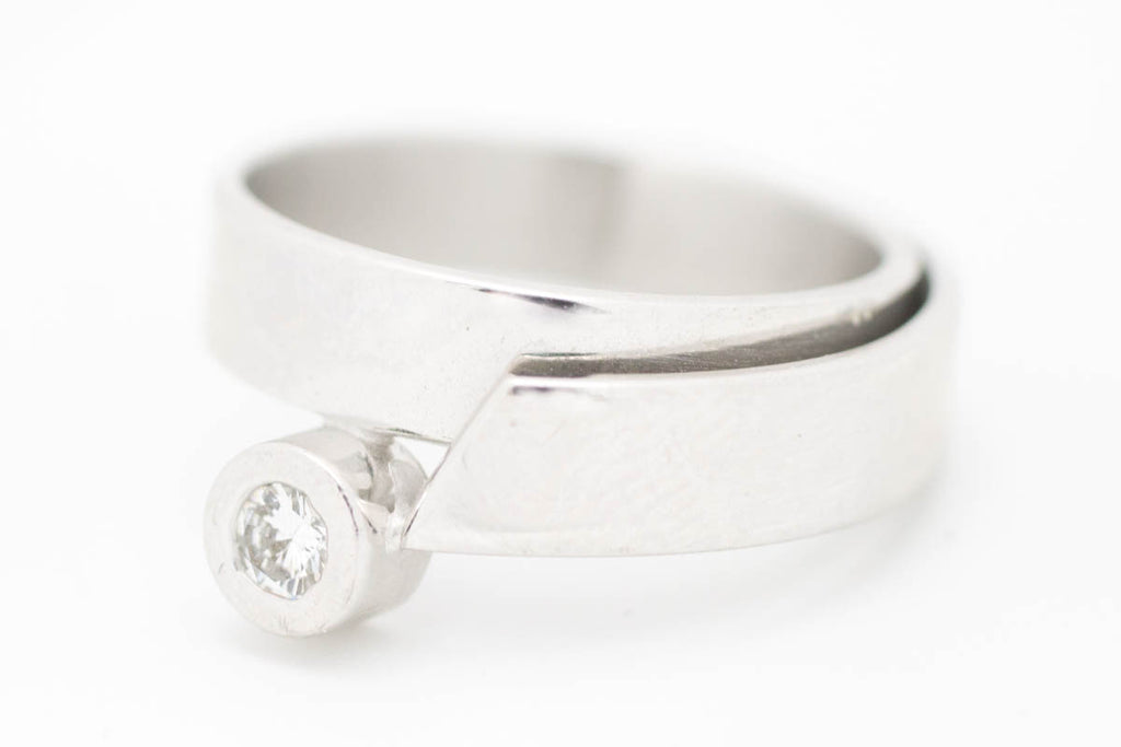 Solitaire Diamond White Gold Modernist Ring-Vintage & retro rings-The Antique Ring Shop, Amsterdam