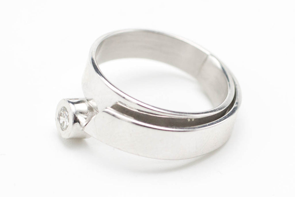 Solitaire Diamond White Gold Modernist Ring