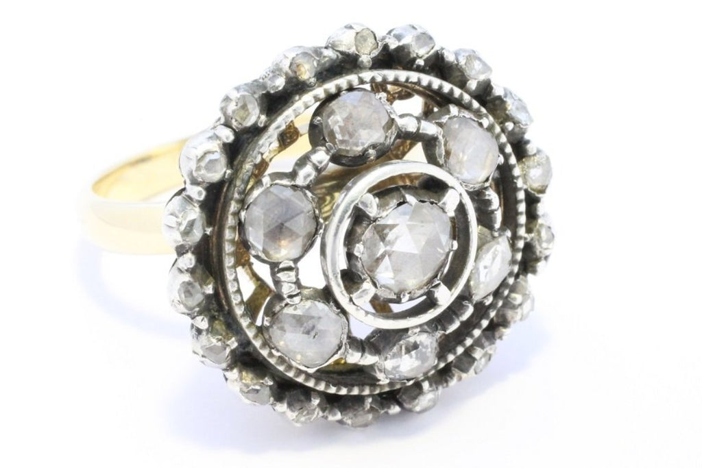 Rose diamond target ring in silver and gold-Antique rings-The Antique Ring Shop, Amsterdam