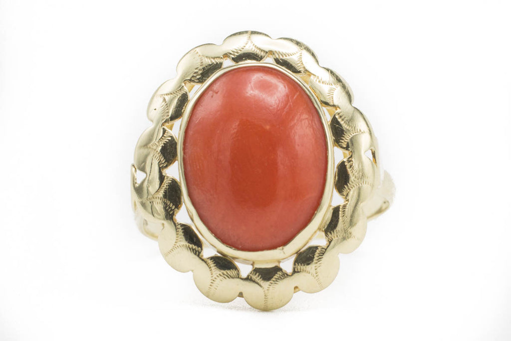 Vintage Dutch Coral Gold Ring-Vintage & retro rings-The Antique Ring Shop, Amsterdam
