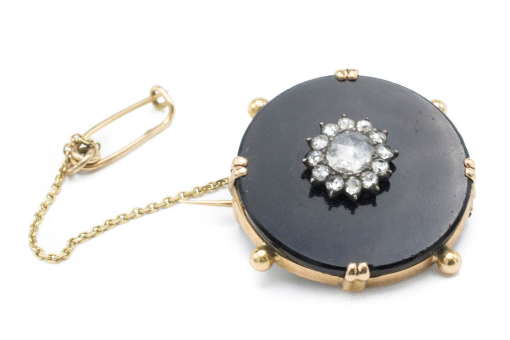 Onyx Gold Brooch with Rose Diamonds-Brooches-The Antique Ring Shop, Amsterdam