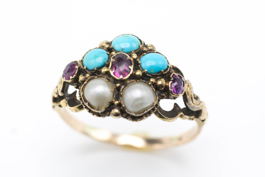 Victorian tourmaline, turquoise and pearl ring-Antique rings-The Antique Ring Shop, Amsterdam