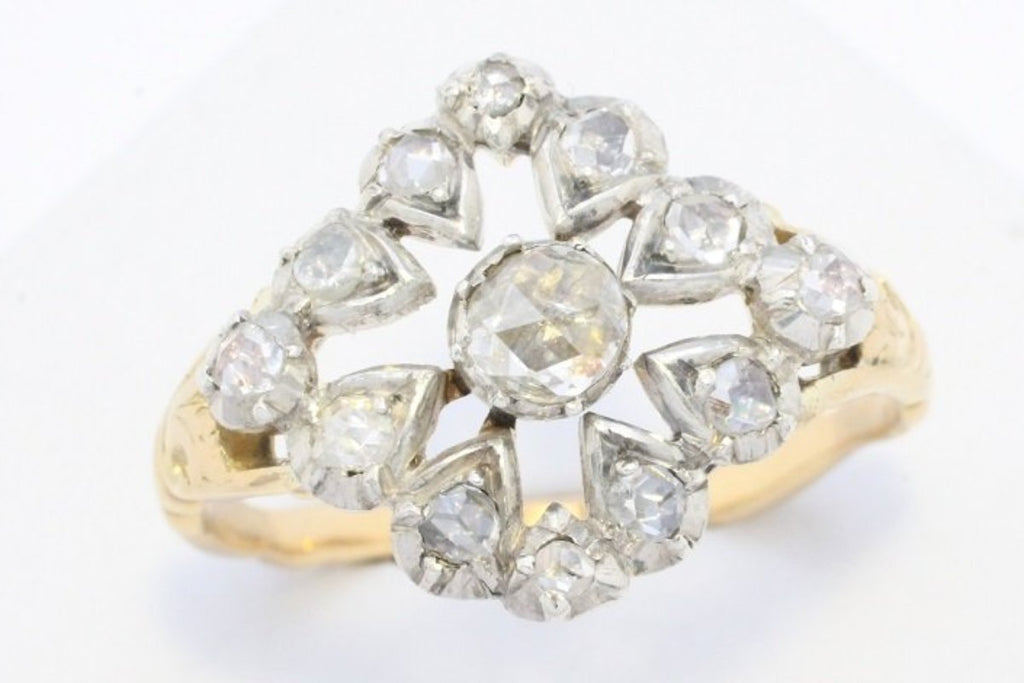 Rose diamond ring in a diamond shaped cluster setting-Antique rings-The Antique Ring Shop, Amsterdam