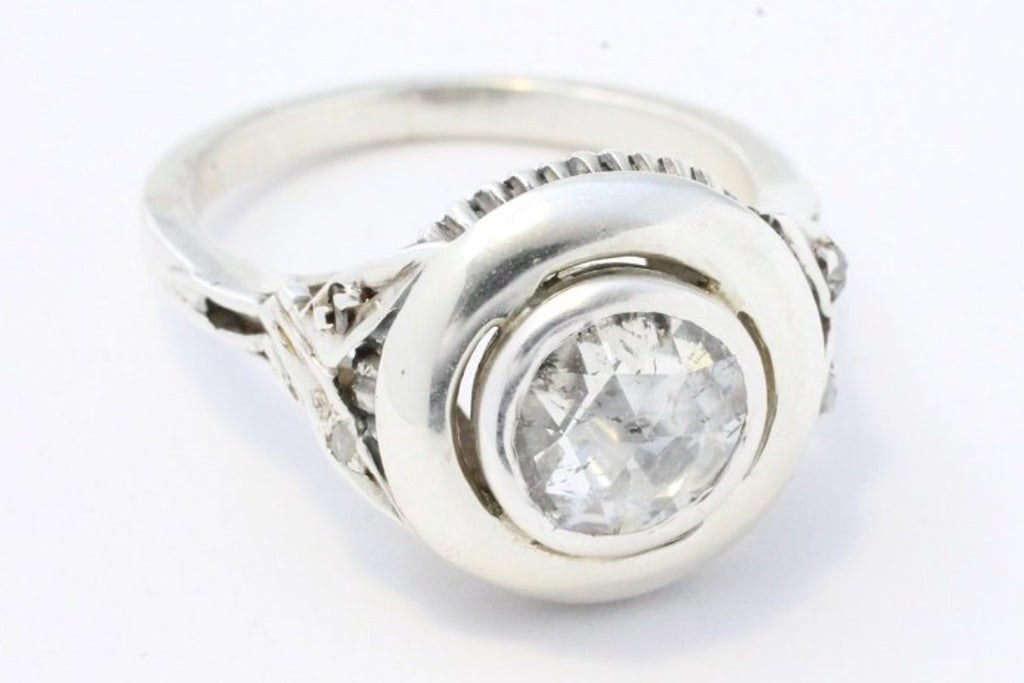 Rose diamond ring in silver and white gold-Antique rings-The Antique Ring Shop, Amsterdam