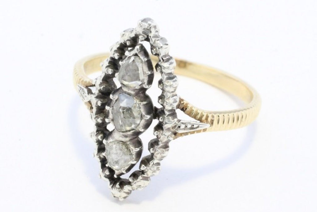 Rose diamond ring with marquee shaped setting in silver and gold-Antique rings-The Antique Ring Shop, Amsterdam