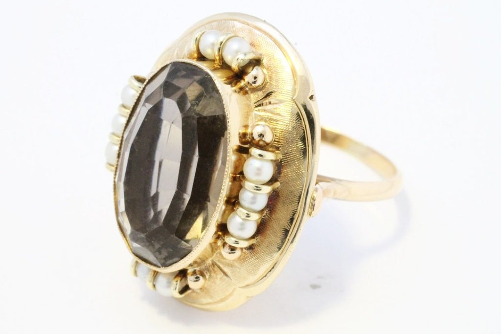 Smoked quartz and pearl cocktail ring in 14 carat gold-Vintage & retro rings-The Antique Ring Shop, Amsterdam