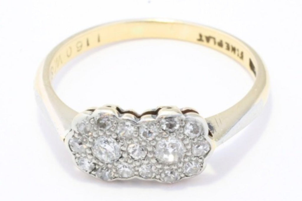 Vintage double flower diamond cluster ring in platinum and gold-Antique rings-The Antique Ring Shop, Amsterdam