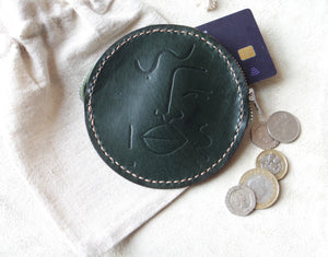 Round Leather Embossed Coin Purse In Green