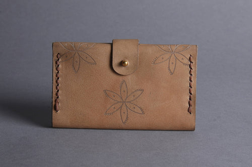 Adinkra Print Natural Leather Card Holder