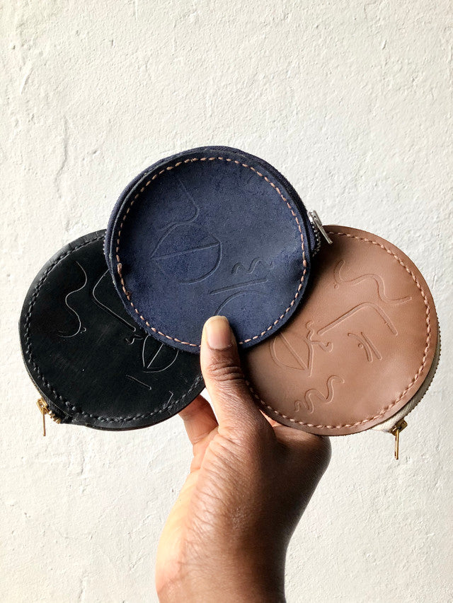 Round Leather Embossed Coin Purse In Navy