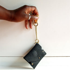 Punu Leather Card Holder with Keychain