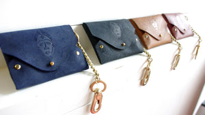 Punu Leather Coin and Cardholder with Keychain