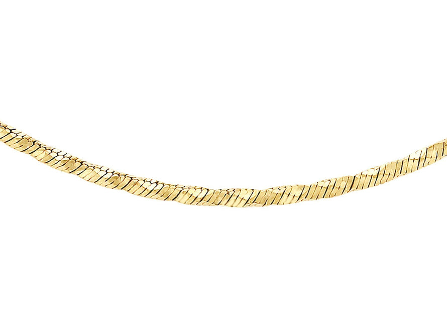 "9ct Yellow Gold Diamond Cut Snake Chain 46cm/18"" - Dynagem"