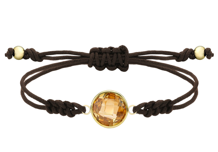 Gold Round Orange CZ on Brown Cord Adjustable Bracelet