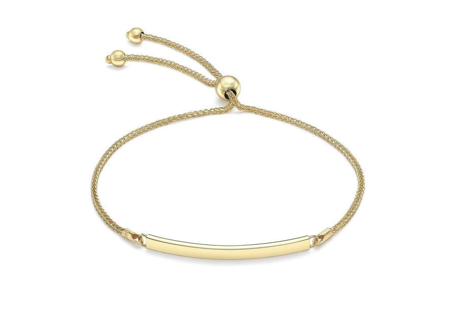Spiga Chain Adjustable Slider ID Bracelet 9ct Yellow Gold