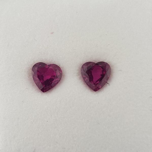 1.02ct Pair of Heart Shape Rubies 4.5x4.5mm