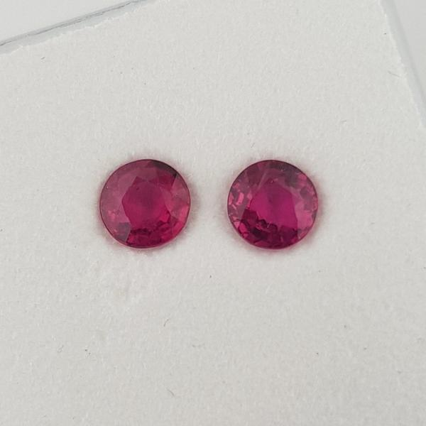 0.87ct Pair of Round Faceted Rubies 4.5mm - Dynagem