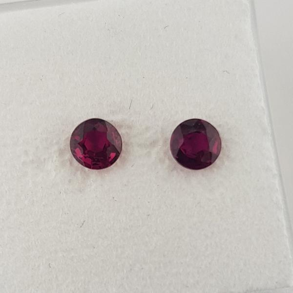 0.66ct Pair of Round Faceted Rubies 3.8mm - Dynagem