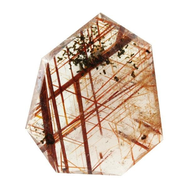 34.22ct Fancy Heptagon Cut Red Rutilated Quartz 37x31mm