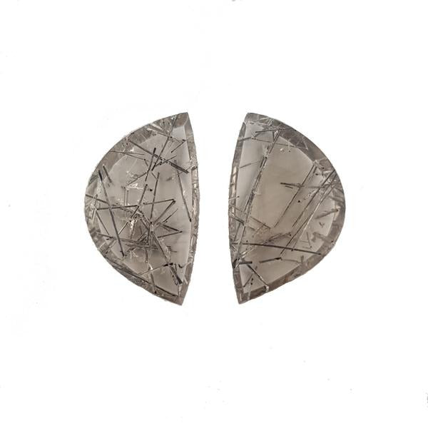 31.5ct Pair of Fancy Cut Tourmalinated Quartz 26.5x15.5mm