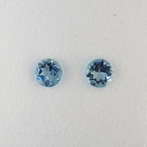 0.58ct Pair of Round Faceted Aquamarines 4.5mm