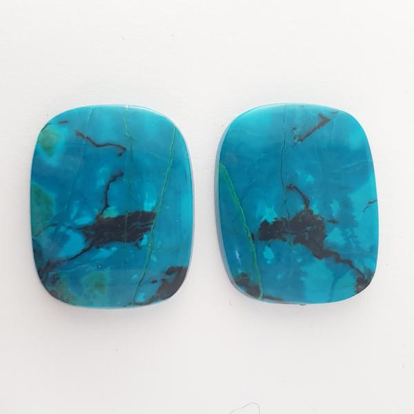 Cushion Shape Cabochon Chrysocolla 26x20mm - Dynagem