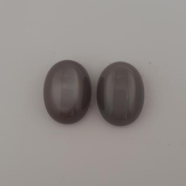 18.15ct Pair of Oval Cabochon Grey Moonstones 16x12mm
