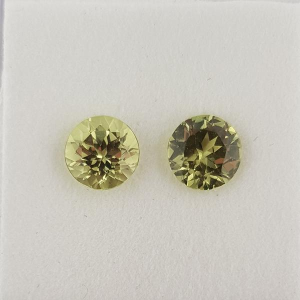 3.82ct Pair of Round Faceted Mali Garnets 7.5mm