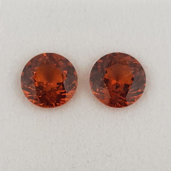 5.78ct Pair of Round Faceted Spessartite Garnets 9mm