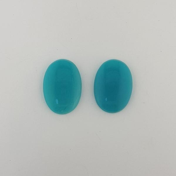 24.44ct Pair of Oval Cabochon Slice Chrysocolla - Gem Silica 22.8x16.7mm