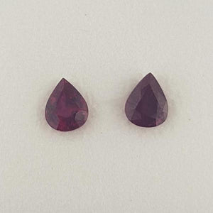 1.38ct Pair of Pear Shape Rubies 5.8x4.6mm
