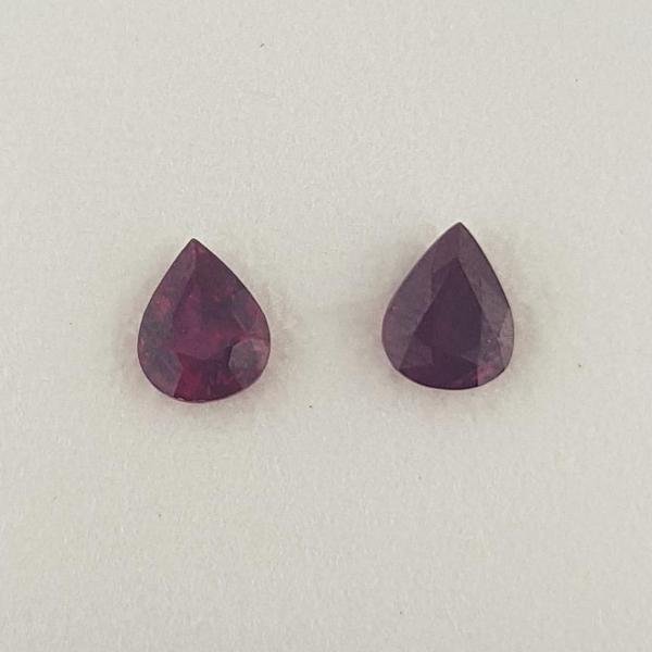 1.38ct Pair of Pear Shape Rubies 5.8x4.6mm - Dynagem