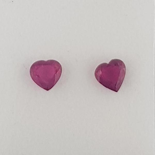 1.05ct Pair of Heart Shape Rubies 5x4.8mm