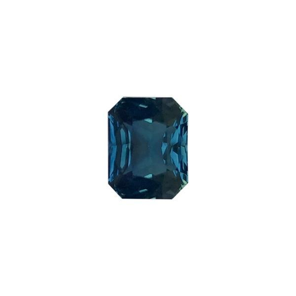 4.57ct Blue-Green Colour Octagon Cut Sapphire Certified Unheated 9.9x7.8mm
