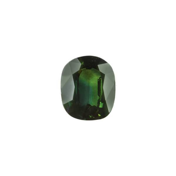 7.58ct Cushion Faceted Bluish Green Sapphire 13.7x10.9mm - Dynagem