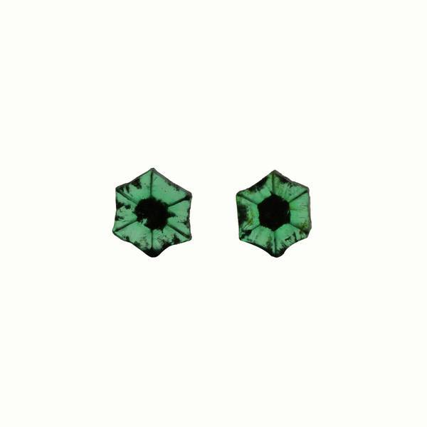 3.51ct Pair of Trapiche Emerald Slices 9mm