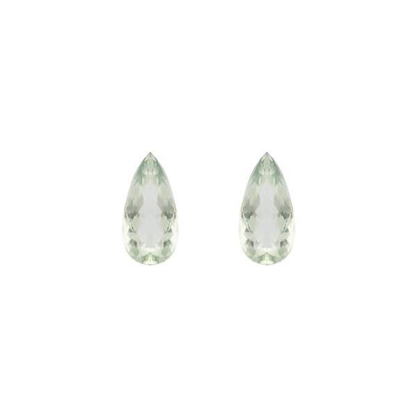 17.88ct Pair Of Checkerboard Cut Pear Shape Green Quartz 20x10mm