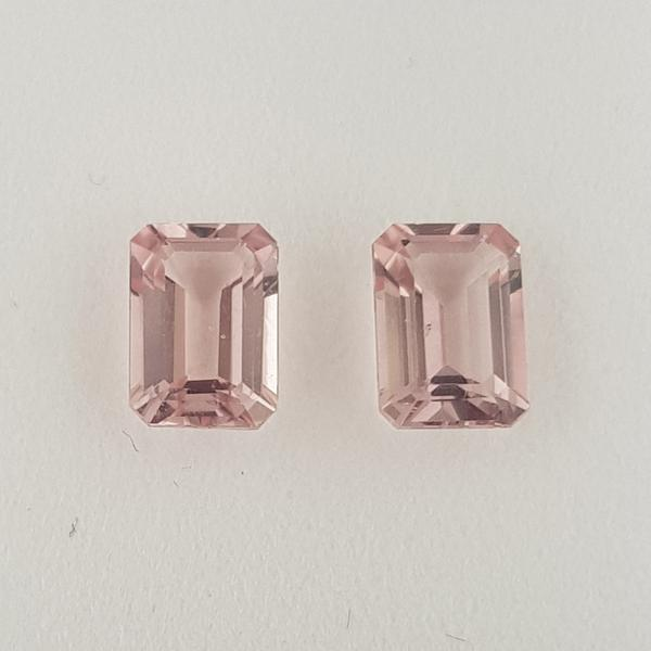 1.90ct Pair of Octagon Cut Morganites 7x5mm - Dynagem