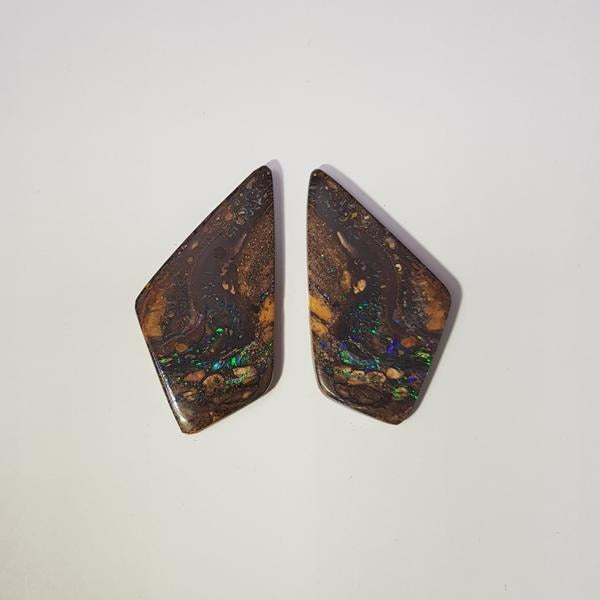 48.43ct Pair of Kite Shape Boulder Opals 40x20mm - Dynagem