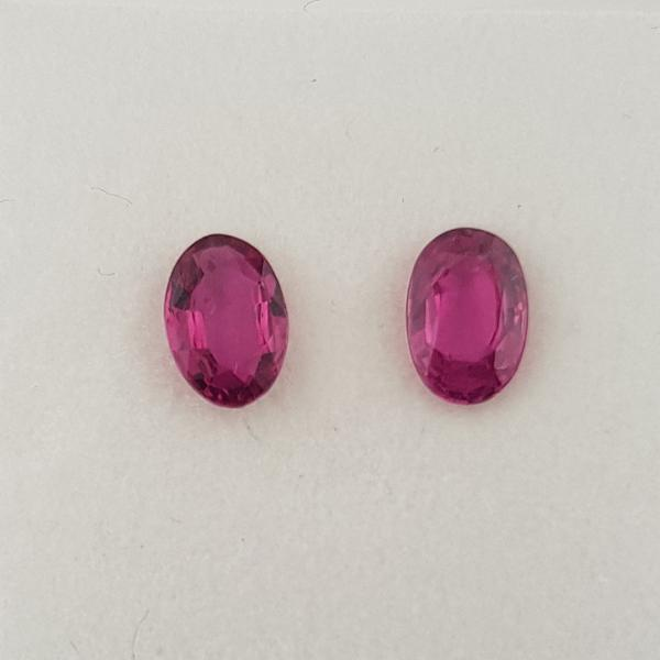 1.12ct Pair of Oval Faceted Rubies 6x4mm