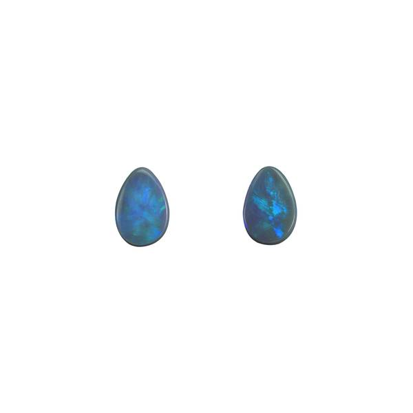 7.7ct Pair of Pear Shape Cabochon Black Opals 14.2x10mm