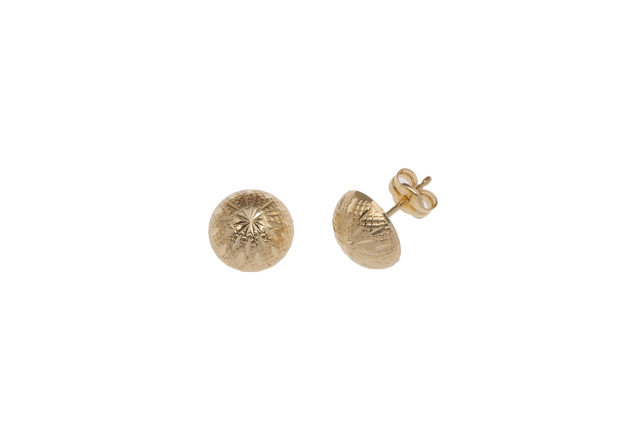Diamond Cut Stud Earrings 18ct Gold