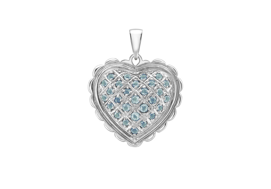 Blue Topaz Scallop Edge Heart Pendant 18ct White Gold