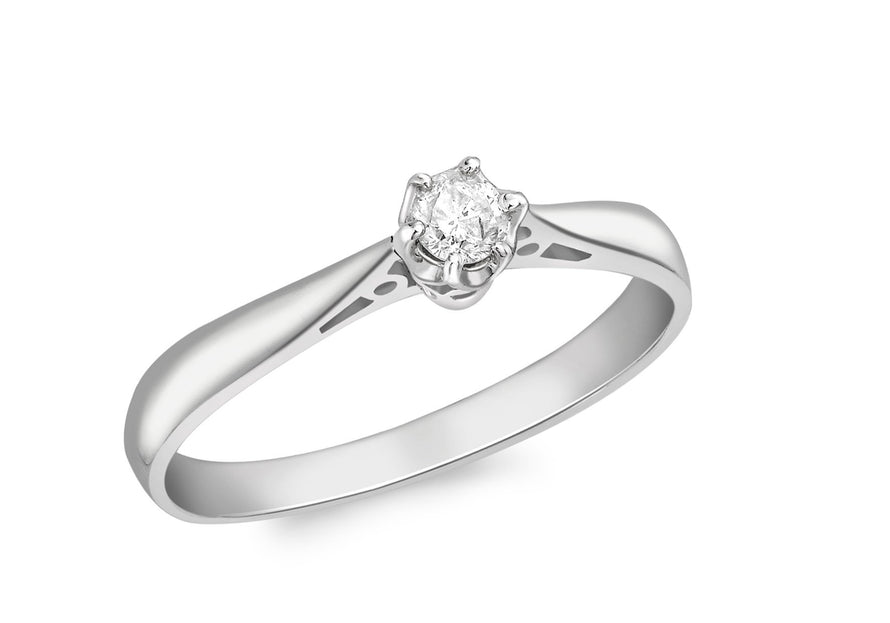 Diamond Claw Set Solitaire Ring 18ct White Gold