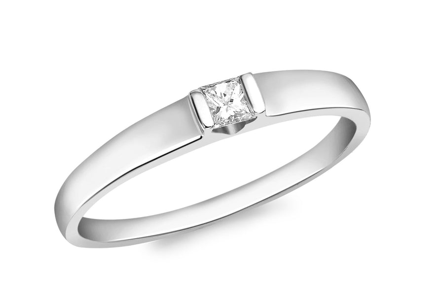 Princess Cut Diamond Tension Set Solitaire Ring 18ct White Gold 0.15ct